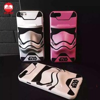 2016 New Arrive Cool Phasma Stormtrooper 2 In 1 Hard PC Rubber Hybrid 3D Phone Case For iPhone 6 6s Plus