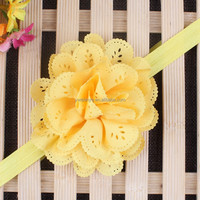 Fashion Hair Accessories plain color baby elastic hair band with flower in stock
