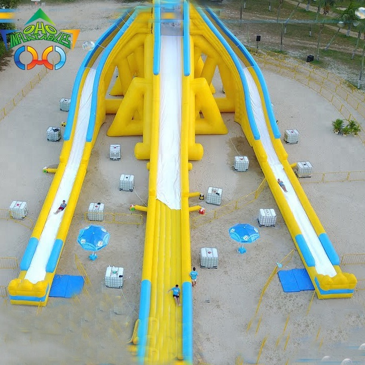 Guangzhou OHO cheap inflatable commercial giant three lane water <strong>slide</strong> for adult