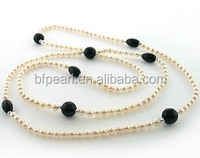 wholesale 36 inches 6-7mm white pearl necklace with black onxy beads