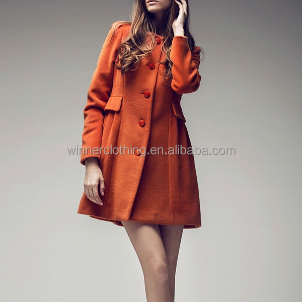 european style wool/polyester new model coat women with long sleeve and cape