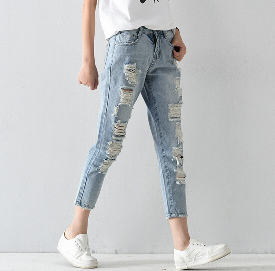 2016 cheap korean women skinny jeans wholesale blue jeans