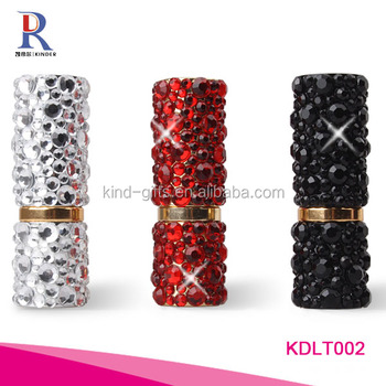 Bling bling charming rhinestone decoration new sedate style custom black lipstick tube