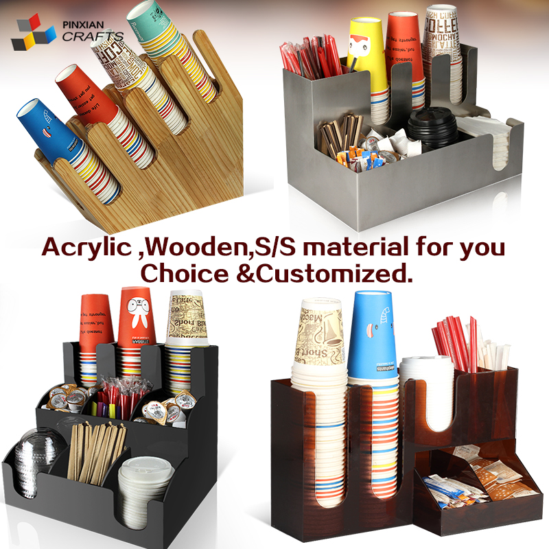 <strong>acrylic</strong>/ABS Coffee Condiment Cup and Lid Organizer/ Coffee Condiment Caddy condiment Organizer