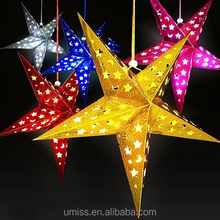 Colorful Paper Star Lantern 3D Pentagram Lampshade for Party Home Hanging Decorations New Christmas Decorations