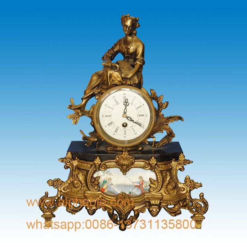 French Style Antique Bronze Mantel Clock