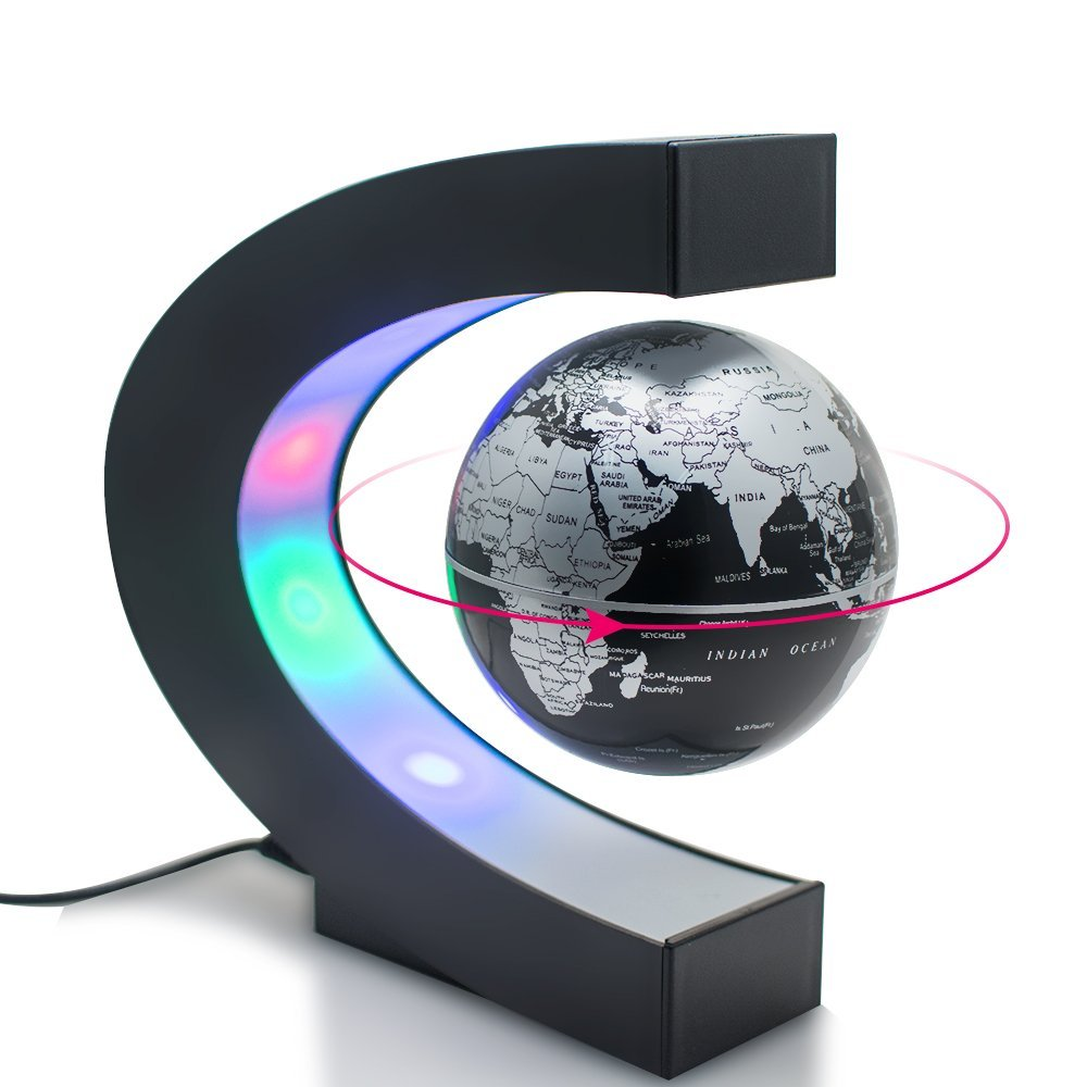 Best <strong>Gift</strong> 3 Inch C shape Decoration Magnetic Levitation Floating Globe World Map With US/UK/EU Plug