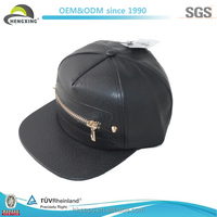 Custom Leather Snapback Cap With Zipper Pocket