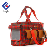 High class PU leather flap pocket durable airline pet carrier colorful plaid fashion canvas luxury dog carrier with inner clip