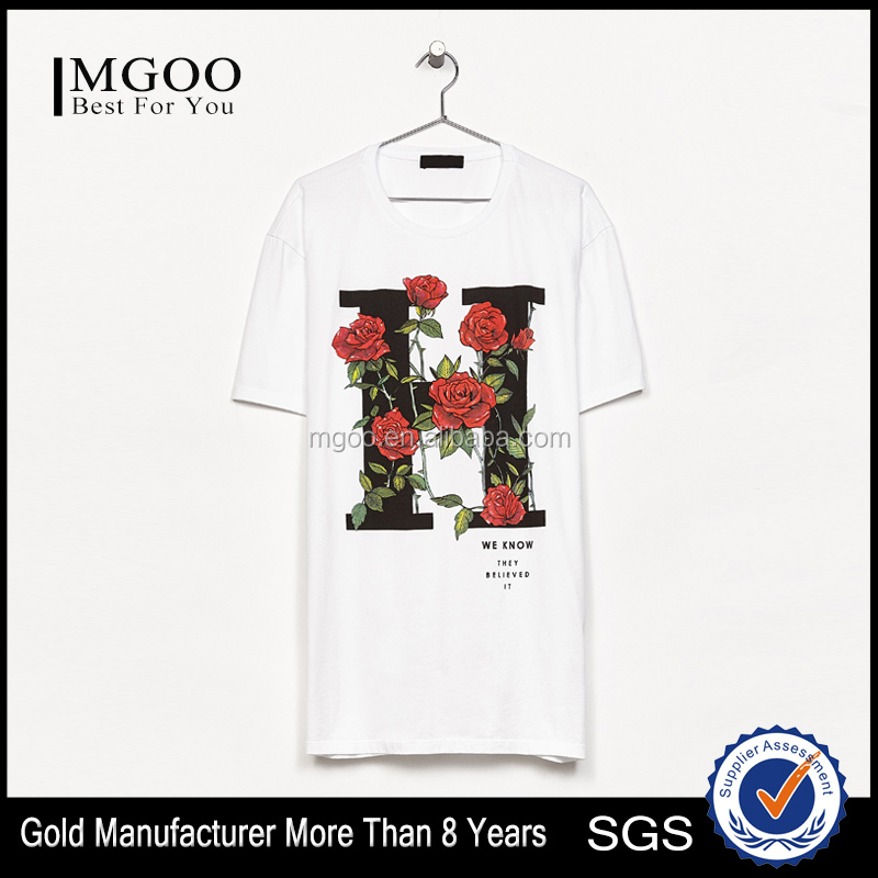 Vivid Flower Romantic Print T-Shirt Casual Loose Fit Screen Printing Tee Mens Top Customize Pattern Clothes Apparel