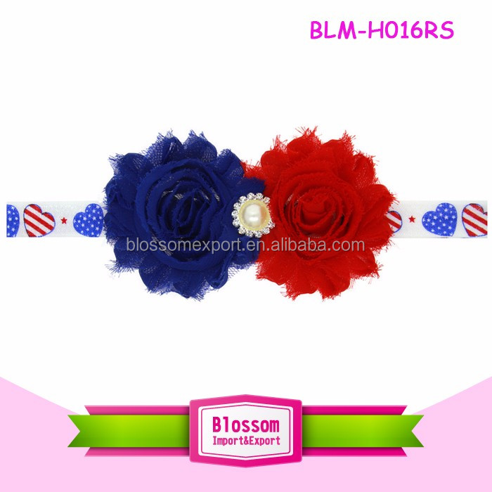 Red Blue White Feather Headband Kids Patriotic Hair Accessories Infant &Toddler Flower Headband Chic 4th of July Headband