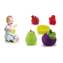 small fruit 6packs vinyl water floating squeeze baby bath toy