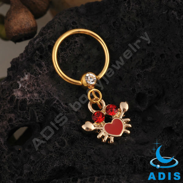 bat dangle anodized gold stainless steel captive ring bcr jewelry