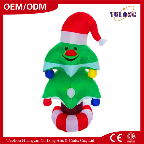 New design Inflatable outdoor rotating christmas tree with christmas hat
