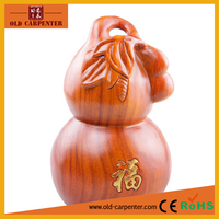 Lucky wealthy Gold Gourd carving ornaments homemade small wood craft