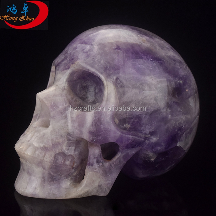 Carved natural amethyst quartz skulls with 3 inch carved skulls all by handmade good for art collection