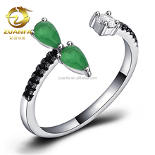 Brazil brass semi joias women aneis crystal emerald color finger cz ring jewelry wholesale