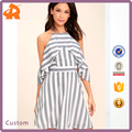 2017 OEM Design Stripe Off the Shoulder Women Casual Dress