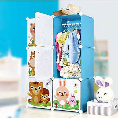Blue color 8 designs cartoon door lightweight storage cabinet hold childrens books and clothes(FH-AL0022-6K)