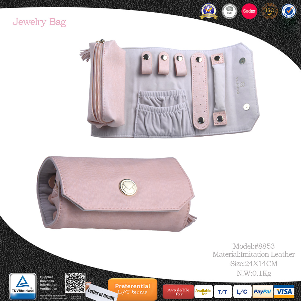 Accept Custom Zipper Top Sealing & Handle jewelry travel roll bag