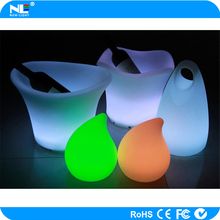 LED plastic illuminate waterproof rechargeable ice buckets for party/hotel/night club/bar/family