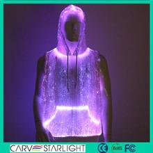 2017 new light up optic fiber lighting illuminated clothing man hoodie
