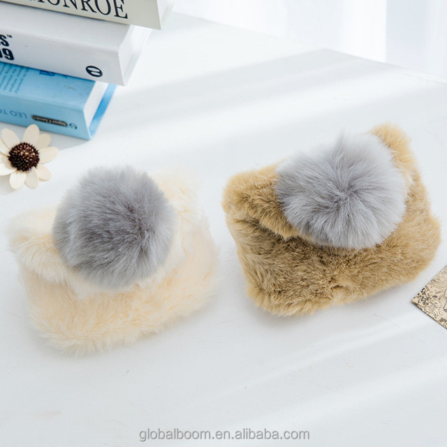 New Design Fur Ball Fluffy Plush Handbag Zipper Coin Purse Coin Wallet Kids Messenger Bag