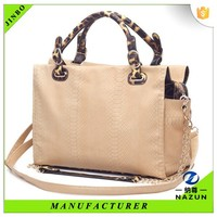 Manufactory DIY CUSTOM luxury woman snake skin tote bag