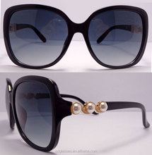 Make your own logo top grade pearl set frame black and yellow color women wholesale fashion sunglasses