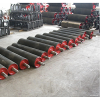 conveyor machine equipment mine stone cement steel rubber conveyor belt roller idler drive pulley