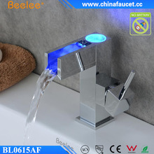 Beelee New Bathroom Sink Taps Brass Waterfall Bathroom LED Faucet