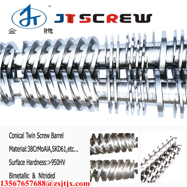 conical twin screw and barrel / conical twin screw barrel for pvc drainage pipes