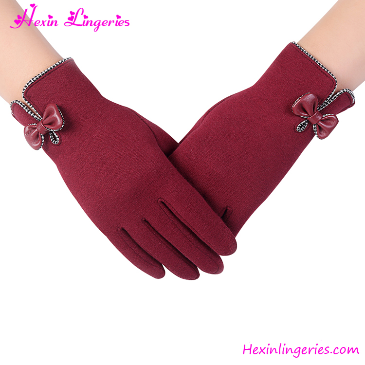 2017 Factory Price Red Wine Bow Winter Touch Screen Wool Glove