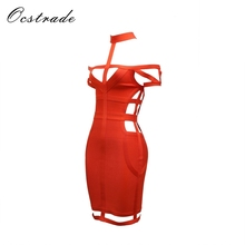 wholesale red cutout halter bandage celebrity dress 2018