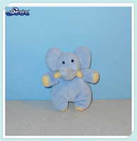 Stuffed Plush Animal Blue Pastel Elephant mini Finger Puppet toy