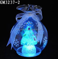 Glass Christmas tree with led light in a candy shaped ball