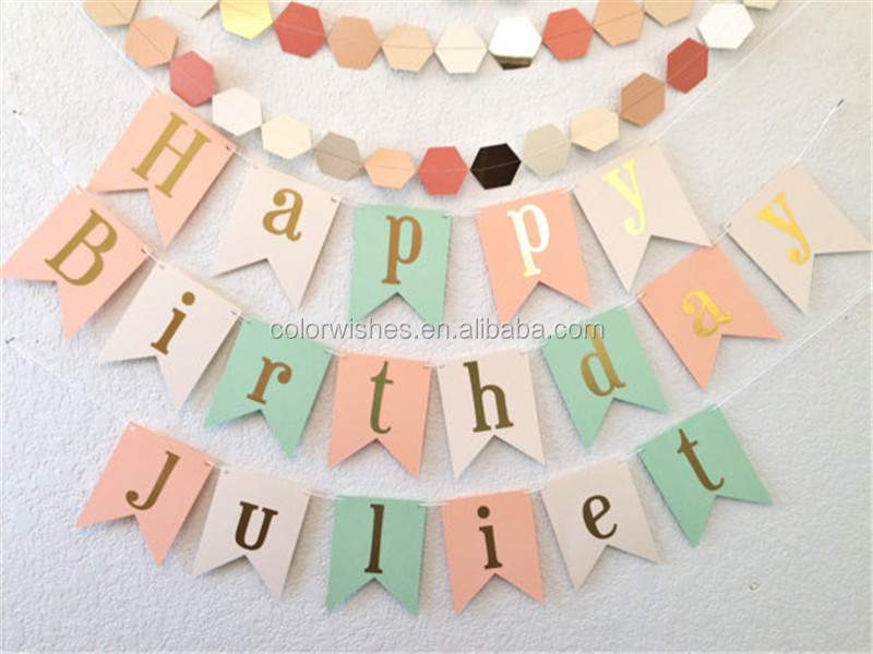 Hanging Glitter Happy Birthday Bunting Banner Party Supplies