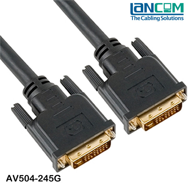 1M DVI I Gold Male 24+5 Pin Dual Link Cable For TFT Monitor