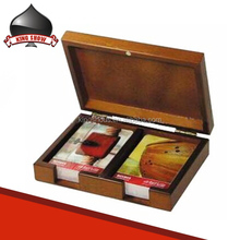 Custom wooden box holding playing cards for gift