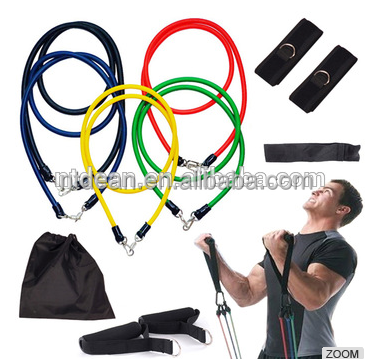 11 pcs Resistance Bands with Foam handles /D Ring /yoga pilates