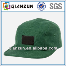 Atractive custom 100% cotton green 5 panel snaoback cap