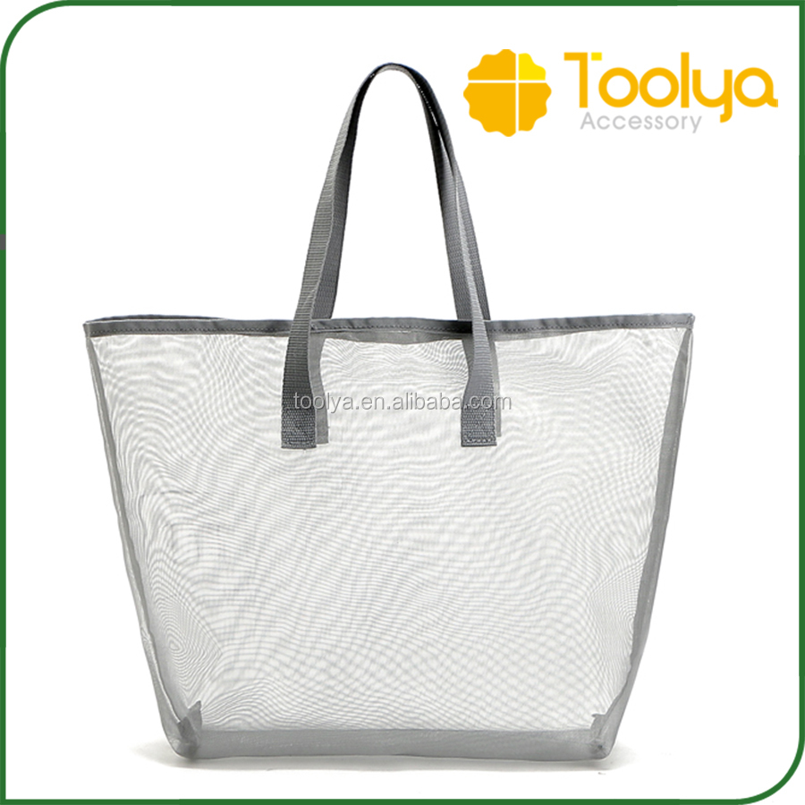 Customised New Arrival Mesh Folding Beach Bag Toys Clothes Towel Bag Summer Vacation Tote Shopping Bag