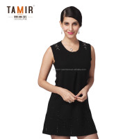 Sleeveless Black Knitted Winter Cashmere Dress, Women Fashionable Fitted Winter Dress