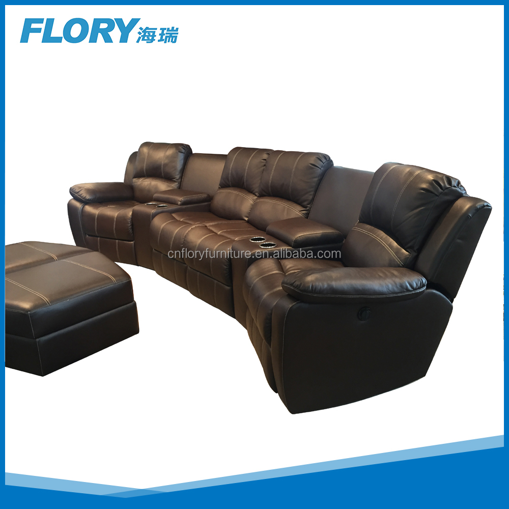 Cinema recliner leather sofa set with cup holder