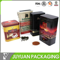 Metal tea coffee packaging canisters in tin