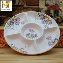 5 compartment round plate party ceramic plate for snack candy