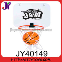 Mini basketball set with plastic backboard and suction cups and mini basketball.