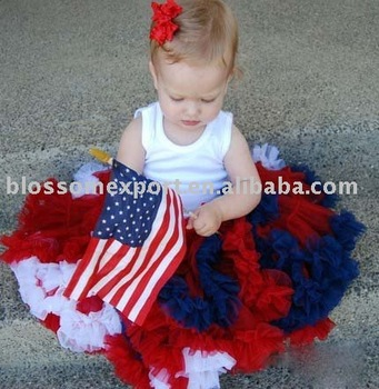 Lastest navy red white soft tulle 4th of july baby petti skirts girl outfits Made in China