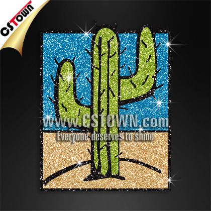 New arrivals bling picture of cactus rhinestone transfers western