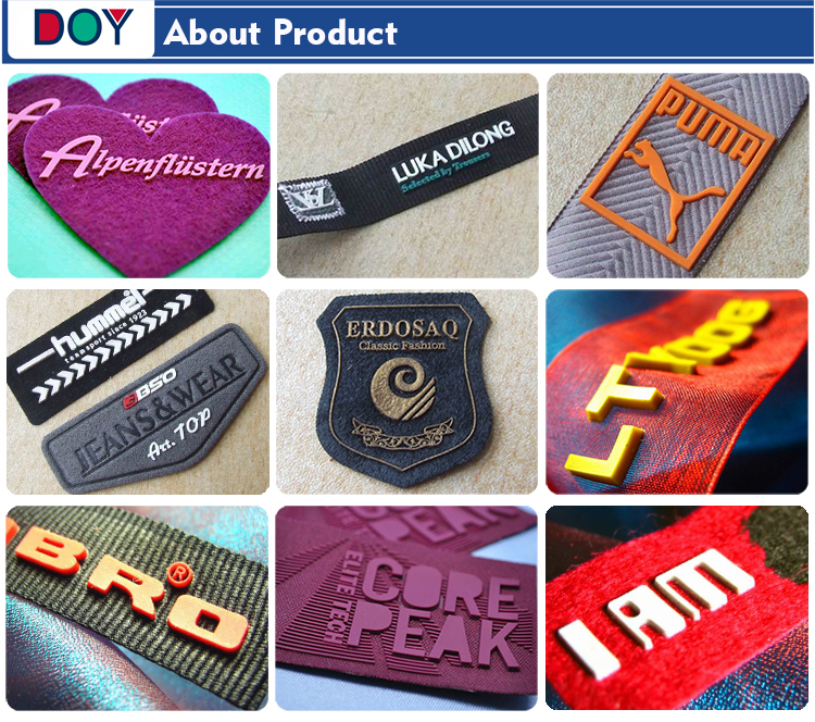 Customized Iron on Embossed 3D Logo Fabric Embroidery Chest Badges with Silicone Felt for Clothes